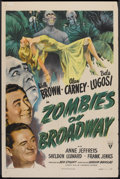 "Movie Posters:Horror, Zombies on Broadway (RKO, 1944). One Sheet (27"" X 41""). Horror....."