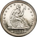 Proof Seated Quarters, 1855 25C PR64 Cameo PCGS. CAC....