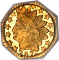 California Fractional Gold, 1876 25C Indian Octagonal 25 Cents, BG-799GG, R.8, MS65 PCGS....