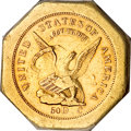 Territorial Gold, 1851 $50 LE Humbert Fifty Dollar, 887 Thous. 50 Rev. AU55 PCGS....