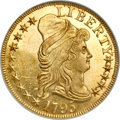 Early Half Eagles, 1795 $5 Small Eagle S over D MS65 Prooflike NGC. ...