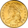 Early Half Eagles, 1810 $5 Small Date, Tall 5 MS62 PCGS....