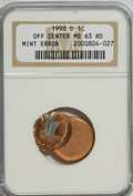 Errors, 1998-D 1C Lincoln Cents Off Center MS63 Red NGC....