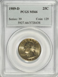 Washington Quarters: , 1989-D 25C MS66 PCGS. PCGS Population (74/4). NGC Census: (23/0).Mintage: 896,535,616. Numismedia Wsl. Price for NGC/PCGS ...