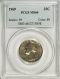 Washington Quarters: , 1969 25C MS66 PCGS. PCGS Population (70/3). NGC Census: (23/2).Mintage: 176,212,000. Numismedia Wsl. Price for NGC/PCGS co...
