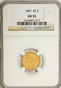 1847 $2 1/2 AU55 NGC. NGC Census: (23/61). PCGS Population (4/13). Mintage: 29,800. Numismedia Wsl. Price for NGC/PCGS c...
