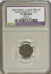 1662 2PENCE Oak Tree Twopence, Small Two, Massachusetts(11.7gr)--Holed--NCS. VF Details. NGC Census: (0/0). PCGS Populat...