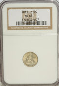 Seated Half Dimes: , 1861 H10C MS65 NGC. NGC Census: (51/38). PCGS Population (39/19).Mintage: 3,361,000. Numismedia Wsl. Price for NGC/PCGS co...