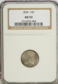 Bust Dimes: , 1834 10C Small 4 AU53 NGC. NGC Census: (8/203). PCGS Population(2/133). Mintage: 635,000. Numismedia Wsl. Price for NGC/PC...