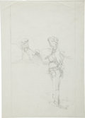 Original Comic Art:Sketches, Jeff Jones The Slave Girl and the Axe Slayer Pencil Drawing Original Art (undated)....