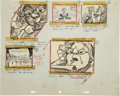 Animation Art:Production Drawing, Bill Peet Ben and Me Animation Storyboard Drawing OriginalArt (Disney, 1953)....
