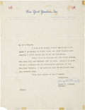 Autographs:Others, Circa 1950 Casey Stengel Signed Letter....