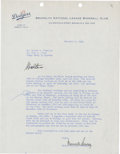 Autographs:Others, 1948 Branch Rickey Signed Letter to Walter O'Malley....