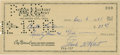 Autographs:Checks, 1961 Frank Kellert Signed Check. ...