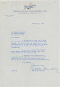 Autographs:Letters, 1951 Walter O'Malley Signed Typed Letter. ...
