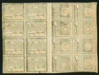 Rhode Island July 2, 1780 Complete Uncut Double Sheet of Sixteen About New