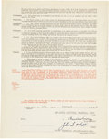 Autographs:Others, 1942 Branch Rickey Signed Contract. ...