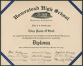 Autographs:Others, 1939 Cum Posey Signed Homestead High School Diploma....