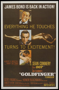 """Goldfinger (United Artists, 1964). One Sheet (27"""" X 41""""). James Bond. Starring Sean Connery, Honor Blackman, G..."""