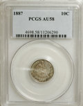 Seated Dimes: , 1887 10C AU58 PCGS. PCGS Population (21/405). NGC Census: (16/393).Mintage: 11,283,939. Numismedia Wsl. Price for NGC/PCGS...