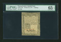 Colonial Notes:Pennsylvania, Pennsylvania October 25, 1775 1s PMG Gem Uncirculated 65 EPQ....
