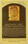 Autographs:Post Cards, Max Carey Signed Hall of Fame Plaque Postcard. ...