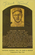 Autographs:Post Cards, Frank Frisch Signed Hall of Fame Plaque Postcard. ...