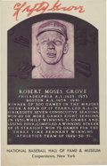 Autographs:Post Cards, Lefty Grove Signed Hall of Fame Plaque Postcard. ...