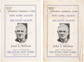 Autographs:Others, 1938 John McGraw Memorial Game Signed Programs Lot Of 2....