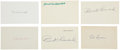 Autographs:Index Cards, Hall of Famers Signed Index Cards Lot of 9....