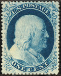Stamps, 1c Blue, Type IIIa (22),...