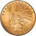 Indian Eagles, 1909-S $10 MS64 PCGS. CAC....