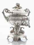 Silver Holloware, British:Holloware, A GEORGE IV SILVER HOT WATER URN ON PEDESTAL. Rebecca Emes &Edward Barnard I, London, England, 1825-1826. Marks: (lion pass...(Total: 4 Items)