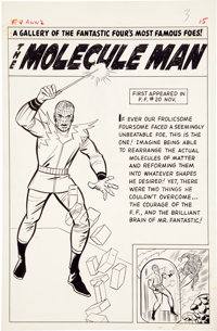 Jack Kirby and Chic Stone Fantastic Four Annual #2 Molecule Man Pin Up Page Original Art (Marvel, 1964