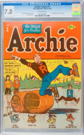 Golden Age (1938-1955):Humor, Archie Comics #1 (Archie, 1942) CGC FN/VF 7.0 Off-white pages....