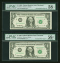 Error Notes:Inverted Reverses, Fr. 1921-D $1 1995 Inverted Reverse Type II Federal Reserve Notes.Two Consecutive Examples. PMG Choice About Unc 58 EPQ.. ... (Total:2 notes)