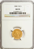 Liberty Quarter Eagles, 1840 $2 1/2 AU53 NGC....