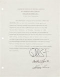 Music Memorabilia:Autographs and Signed Items, Phil Spector and Others Signed Agreement....