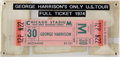 Music Memorabilia:Tickets, Beatles Related - George Harrison Unused Ticket From 1974 U.S. Tour....
