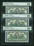 Canadian Currency: , BC-21d $1 1937 Three Examples. ... (Total: 3 notes)