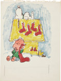 Original Comic Art:Sketches, Charles Schulz Newsweek Unpublished Cover Snoopy, Linus and Woodstock Sketch Original Art (1972)....