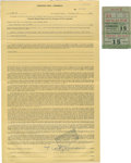 Boxing Collectibles:Autographs, Rocky Marciano Signed Contract and Ticket Stub. ... (Total: 2 items)