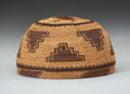 American Indian Art:Baskets, A KAROK TWINED MAIDEN'S CAP. c. 1910. ...