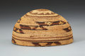 American Indian Art:Baskets, A HUPA TWINED MAIDEN'S CAP. c. 1910. ...