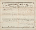 """Autographs:Statesmen, Francis R. Lubbock Land Grant Signed """"F. R. Lubbock"""" asCivil War governor of Texas. One partly printed page, 14.75"""" x 1..."""