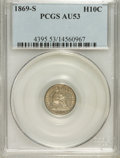 Seated Half Dimes: , 1869-S H10C AU53 PCGS. PCGS Population (2/31). NGC Census: (0/56).Mintage: 230,000. Numismedia Wsl. Price for NGC/PCGS coi...