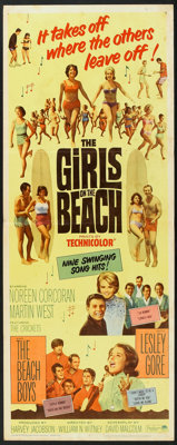 """The Girls on the Beach (Paramount, 1965). Insert (14"""" X 36""""). Comedy"""