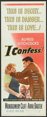 "I Confess (Warner Brothers, 1953). Insert (14"" X 36""). Hitchcock"