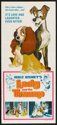 "Lady and the Tramp (Buena Vista, R-1960s). Australian Daybill (13"" X 30""). Animated"