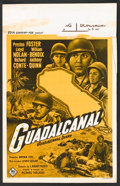 "Movie Posters:War, Guadalcanal Diary (20th Century Fox, 1950s). Post-War Belgian (14"" X 22""). War.. ..."